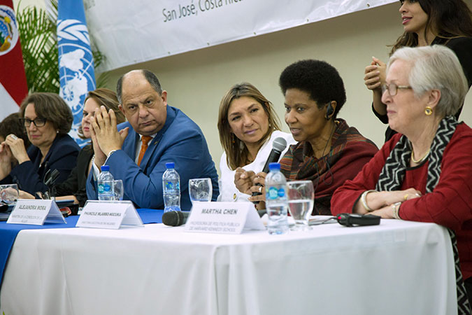 Special guest speakers at the meeting of the High-Level Panel on Women's Economic Empowerment. From left to right; Rebeca Grynspan, Ibero-American Ssecretary General; Ana Helena Chacón, Vice-President of Costa Rica; Luis Guillermo Solís, President of Costa Rica; Alejandara Mora, Minister of Women Condition; UN Women Executive Director Phumzile Mlambo-Ngcuka; Martha Chen, Lecturer in Public Policy at the Harvard Kennedy School Photo: Office of the President of Costa Rica/Fabián Hernández