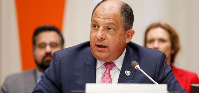 H.E. Luis Guillermo Solís Rivera, President of Costa Rica, speaks at the Open Consultation on the work and deliberations of the UN Secretary-General's High Level Panel on Women's Economic Empowerment, held at United Nations Headquarters on 16 March 2016 during the 60th session of the Commission on the Status of Women. Photo: UN Women/Ryan Brown.